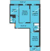 3 комнатная квартира 95 м² в ЖК Боярский двор Премиум, дом 2 очередь - планировка