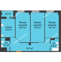3 комнатная квартира 96,9 м² в ЖК Квартет, дом № 3 - планировка