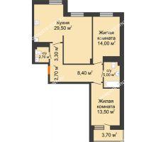 2 комнатная квартира 80,95 м² в ЖК Корица, дом № 1 - планировка