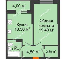 1 комнатная квартира 48,3 м² в ЖК Звездный-2, дом № 4 - планировка