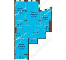 3 комнатная квартира 139,7 м², ЖК Бояр Палас - планировка