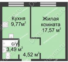 1 комнатная квартира 35,35 м² в ЖК Солнечный, дом д. 161 А/1