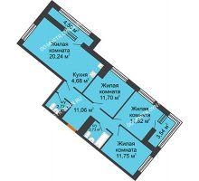 3 комнатная квартира 80,83 м² в ЖК Дом на Набережной, дом № 1 - планировка