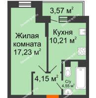 1 комнатная квартира 37,21 м² в ЖК Россинский парк, дом Литер 1 - планировка