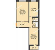 2 комнатная квартира 70,2 м², ЖК Дом на Горького - планировка