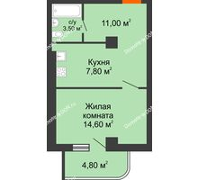 1 комнатная квартира 38,7 м² - ЖК Уютный дом на Мечникова