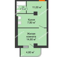 1 комнатная квартира 38,7 м², ЖК Уютный дом на Мечникова - планировка