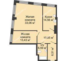2 комнатная квартира 85 м², ЖК Гранд Панорама - планировка