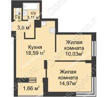 2 комнатная квартира 52,92 м² - ЖК Университетский