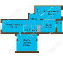 3 комнатная квартира 101,9 м² в ЖК Монолит, дом № 89, корп. 1, 2 - планировка