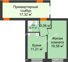 1 комнатная квартира 34 м² - ЖК Янтарный