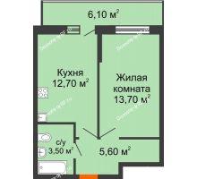 1 комнатная квартира 37,3 м² в ЖК Победный, дом Литер 3 - планировка