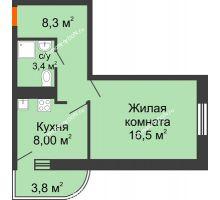 1 комнатная квартира 37,6 м² в ЖК Звезда Столицы, дом Литер 8 - планировка