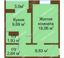 1 комнатная квартира 43,65 м² в ЖК Мончегория, дом № 1