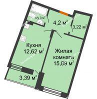 1 комнатная квартира 40,63 м² в ЖК Мандарин, дом 2 позиция 5-8 секция - планировка
