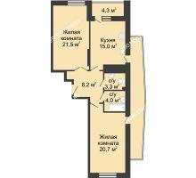 2 комнатная квартира 92,8 м² в ЖК Монолит, дом № 89, корп. 3 - планировка