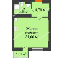 Студия 29,03 м² в ЖК Мечников, дом ул. Таврическая, 4 - планировка