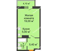 Студия 34,43 м² в ЖК Сокол на Оганова, дом Литер 3 - планировка