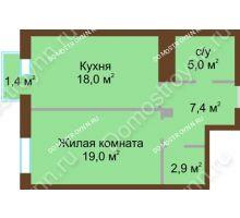 1 комнатная квартира 52,7 м², Жилой дом: ул. Почаинская д. 33 - планировка