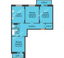 3 комнатная квартира 87,42 м² в ЖК Политехнический, дом 1,2 секция - планировка
