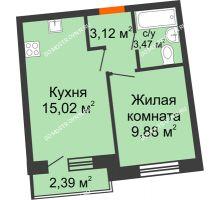 1 комнатная квартира 32,34 м² в ЖК Ватсон, дом № 3А - планировка