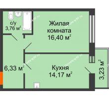 1 комнатная квартира 42,16 м² в ЖК Бограда 109, дом № 2 - планировка