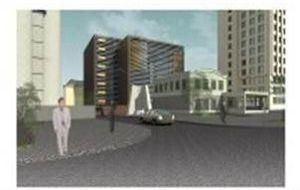 Административное здание смногоуровневым паркингом наул.Новая