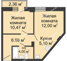 2 комнатная квартира 39,23 м², ЖК Каскад на Волжской - планировка