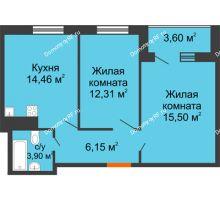 2 комнатная квартира 54,12 м² в ЖК Юго-Западный, дом ГП-1
