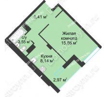 1 комнатная квартира 36,63 м² в ЖК На Вятской, дом № 3 (по генплану) - планировка