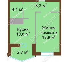 1 комнатная квартира 44,6 м² в ЖК Монолит, дом № 89, корп. 1, 2