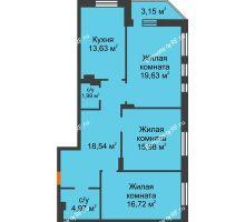 3 комнатная квартира 94,61 м² в ЖК Континент, дом № 16 - планировка