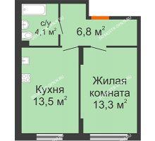 1 комнатная квартира 37,7 м² в ЖК Новая Кузнечиха, дом № 28 - планировка