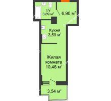 Студия 25,68 м² в ЖК Сердце Ростова 2, дом Литер 8 - планировка