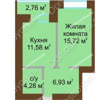 1 комнатная квартира 39,89 м² в ЖК Солнечный город, дом на участке № 214