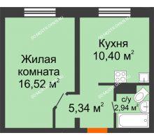 1 комнатная квартира 35,2 м² в ЖК Корабли, дом № 9-1