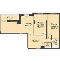 2 комнатная квартира 83,11 м² в ЖК Карамель, дом № 1 - планировка