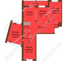 4 комнатная квартира 121,6 м² в ЖК Монолит, дом № 89, корп. 1, 2 - планировка