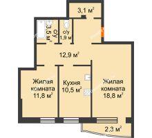 2 комнатная квартира 64,8 м² в ЖКСпутник, дом Позиция 4 - планировка