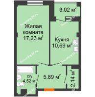 1 комнатная квартира 41,98 м² в Жилой район Берендей, дом № 14 - планировка