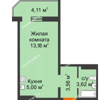 1 комнатная квартира 26,59 м² в ЖК Квартал №6 (Восточный), дом Литер 25 - планировка