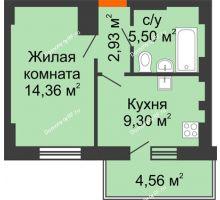 1 комнатная квартира 33,46 м² - ЖК Семейный