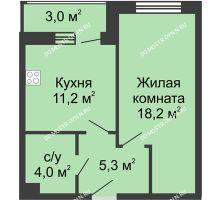 1 комнатная квартира 41,7 м² - Жилой дом: ул. Страж Революции