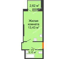 Студия 21,62 м² в ЖК Аквамарин, дом Секция 1  - планировка