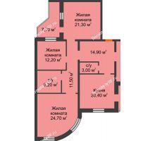 4 комнатная квартира 141,7 м², ЖК по ул. Циолковского - планировка