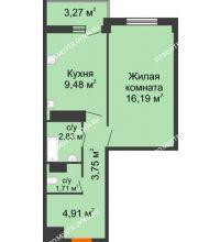1 комнатная квартира 40,51 м², Жилой дом: г. Арзамас, ул. Матросова, д. 13 - планировка