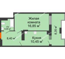 1 комнатная квартира 48,25 м² в ЖК Симфония, дом 3 этап - планировка