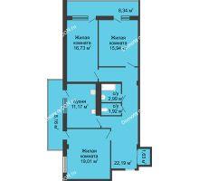3 комнатная квартира 93,1 м² в  ЖК РИИЖТский Уют, дом Секция 1-2 - планировка