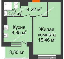1 комнатная квартира 32,43 м², Жилой дом: г. Дзержинск, ул. Буденного, д.11б - планировка