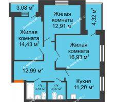 3 комнатная квартира 79,2 м², ЖК Abrikos (Абрикос) - планировка